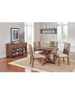 Anacortes 62'' Extendable Oval Pedestal Round Dining Table in Mahagony