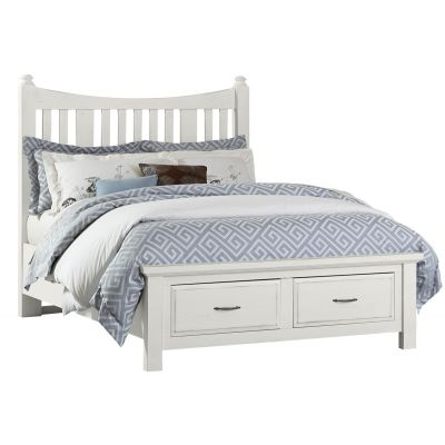 Artisan & Post Maple Road Queen Slat Poster Bed with Storage Footboard in White