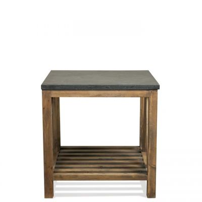 Riverside Weatherford Bluestone Reclaimed Natural Pine Rectangle Side Table