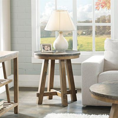 Riverside Weatherford Bluestone Reclaimed Natural Pine Round Side Table