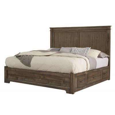 Artisan & Post Cool Rustic Queen Mansion Bed with Storage on Left or Right Side in Mink