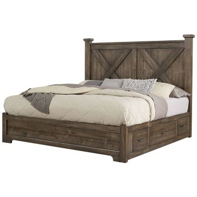 Artisan & Post Cool Rustic Queen X Panel Bed with Side Storage in Mink Bergenfield a