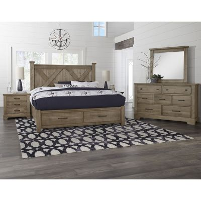 Artisan & Post Cool Rustic Queen X Panel Storage Bed in Stone Grey