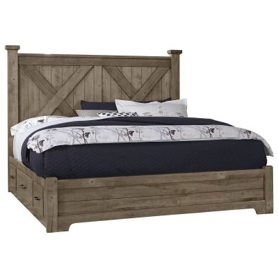 Artisan & Post Cool Rustic Queen X Panel Bed with Side Storage in Stone Grey Lyndhurst a