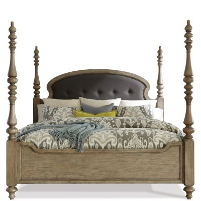 Corinne Queen Upholstered Sun Drenched Acacia Poster bed