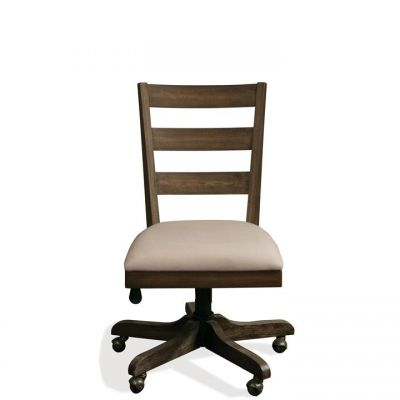 Perspectives Brushed Acacia Wood back Upholstered Desk Chair