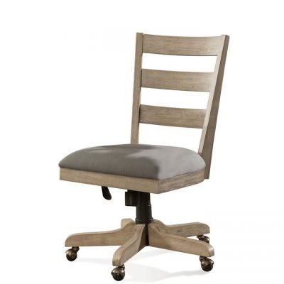 Perspectives Sun-Drenched Acacia Wood back Upholstered Desk Chair