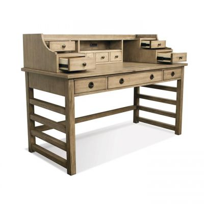 Perspectives Sun-Drenched Acacia Leg Desk with Hutch