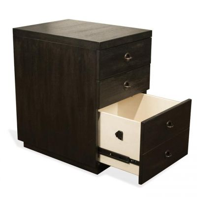 Perspectives Ebonized Acacia Mobile File Cabinet