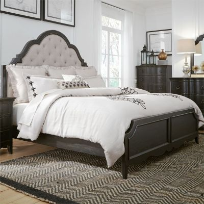 Liberty Chesapeake Wire Brushed Antique Black Queen Upholstered Bed