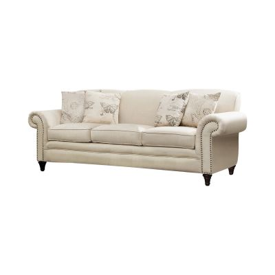 Norah Rolled Arm Sofa in Oatmeal color Ridgewood