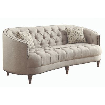 Avonlea Sloped Arm Upholstered Sofa Trim Grey Old Tappan