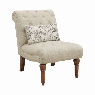 Josephine Tufted Upholstered Armless Chair Oatmeal Glen Rock