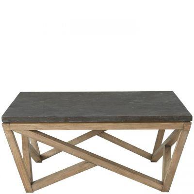 Riverside Hawkins Antique Oak And Bluestone Square Coffee Table
