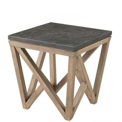 Riverside Hawkins Antique Oak And Bluestone Square Side Table