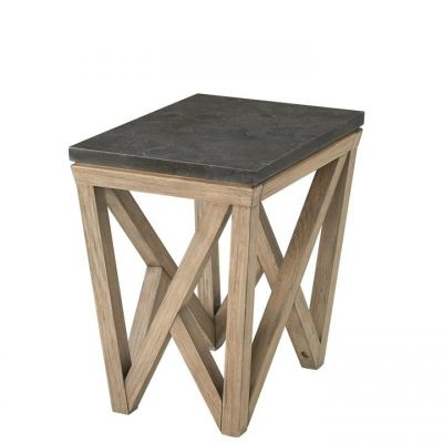 Riverside Hawkins Antique Oak And Bluestone Rectangular Chairside Table