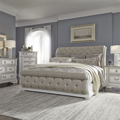 Liberty Furniture Abbey Park Antique White Upholestered Bedroom Set
