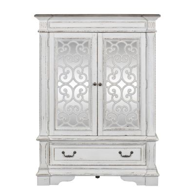 Liberty Abbey Park Antique white Mirrored Wood Door Chest