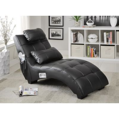 Upholstered Chaise With Speaker And Bluetooth Connectivity Black Oakland