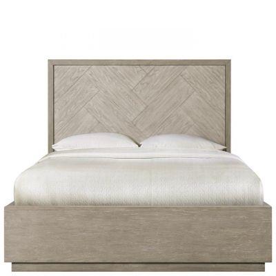 Riverside Furniture Zoey Urban Gray Herringrone Queen Panel Single Storage Bed