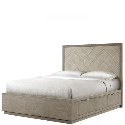 Riverside Furniture Zoey Urban Gray Herringrone Panel Single Storage Bed