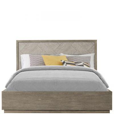 Riverside Furniture Zoey Urban Gray Herringrone Queen Panel Bed