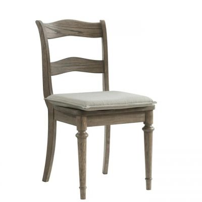 Riverside Louis Farmhouse Antique Oak Upholstered Side Chair