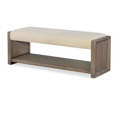 Legacy Classic High Line By Rachael Ray Greige Upholstered Bench