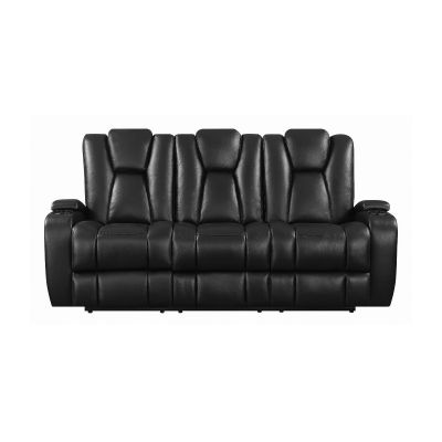 Delange Power Sofa With Power Headrests Black Bergenfield