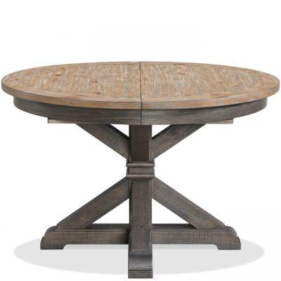 Riverside Harper Snowy Desert And Matte Black Round Dining Table