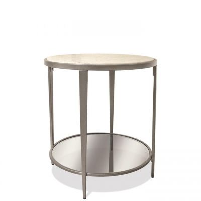 Riverside Wilshire White Sands Round Side Table