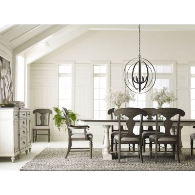 Legacy Classic Brookhaven Vintage Linen Rustic Dark Elm Trestle Table Dining Room Set