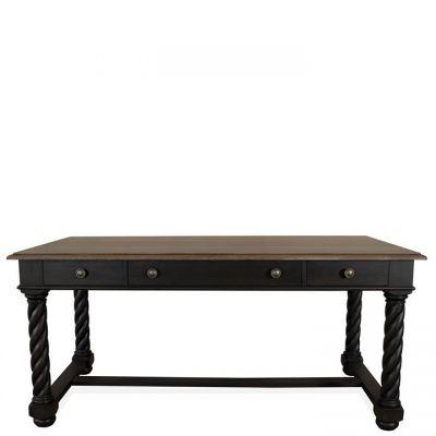Riverside Regency Antique Oak Matte Black Writing Desk