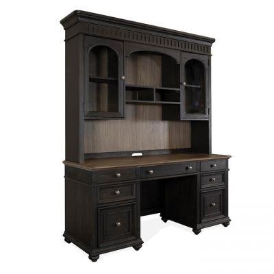 Riverside Regency Antique Oak Matte Black  Credenza Desk