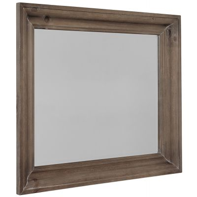Vaughan Bassett Rustic Hills Shadowbox Dresser Mirror in Saddle Grey