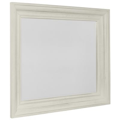 Vaughan Bassett Rustic Hills Shadowbox Dresser Mirror in Weathered White