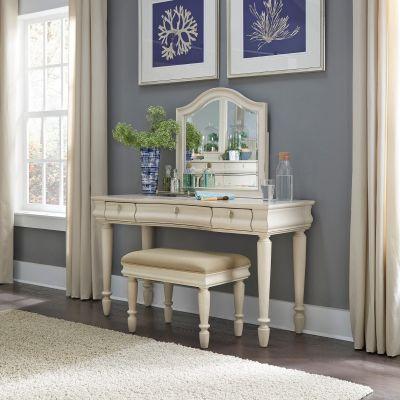 Liberty Furniture Rustic Traditions II White Three Piece Vanity Set
