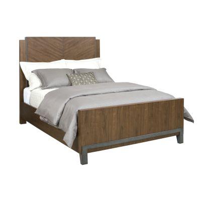 American Drew AD Modern Synergy Maple Chevron Walnut Queen Bed
