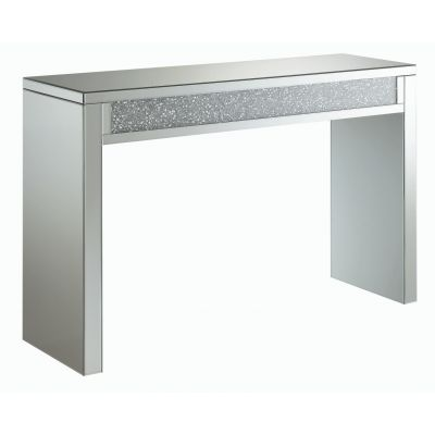 Layton Rectangular Sofa Table Silver And Clear Mirror Wallington