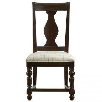 Riverside Rosemoor Burnt Caramel Upholstered Splat Back Side Chair