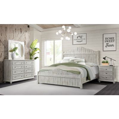 Madison Panel Platform bed-Rustic White-Queen Bergenfield