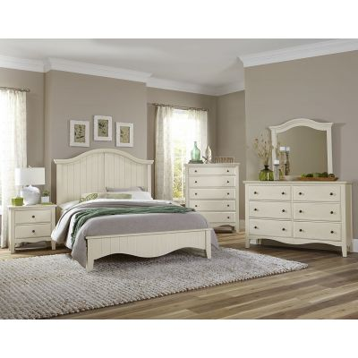 Vaughan Bassett Casual Retreat Full Arch Bed in Shell White