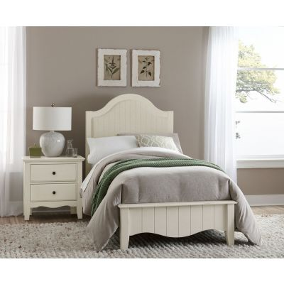Vaughan Bassett Casual Retreat Twin Upholstered Bed in Shell White