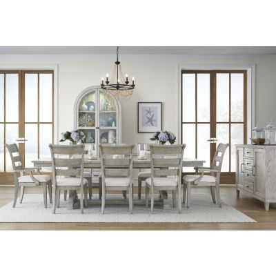 Legacy Classic Belhaven Weathered Plank Trestle Table Dining Room Set