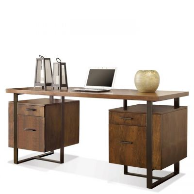 Terra Vista Casual Walnut Double Pedestal Writing Desk