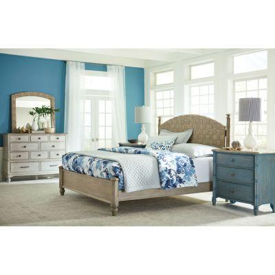 American Drew Litchfield Light Brown Currituck Low Queen Post Bed