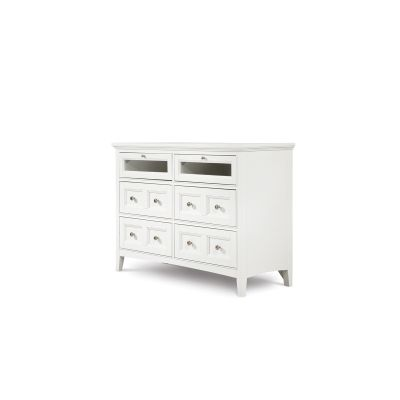 Kentwood Creamy White Media Chest with two wood frame Glass drop down fronts and four drawer.