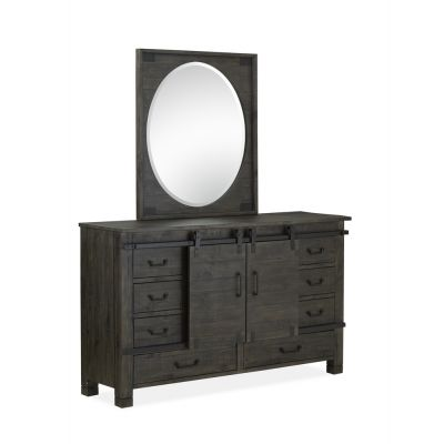 Abington Charcoal Portrait Oval Dresser Mirror