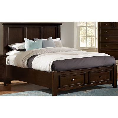 Vaughan Bassett Bonanza Twin Mansion Bed with Storage Footboard in Merlot