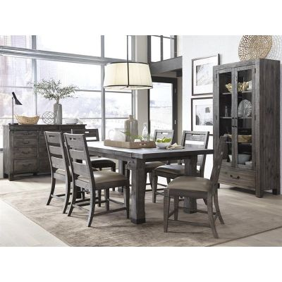 Abington Weathered Charcoal Extendable Dining Room Set